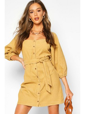 Boohoo Balloon Sleeve Square Neck Cord Dress