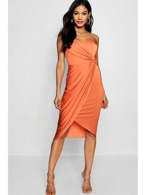 Boohoo Bandeau Twist Wrap Detail Midi Dress
