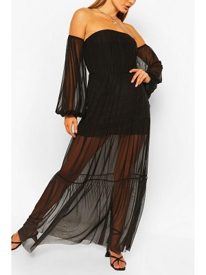 Boohoo Bardot Teired Long Sleeve Maxi Dress