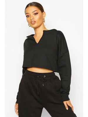 Boohoo Basic V Neck Plunge Crop Sweat