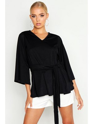 Boohoo Batwing Oversized Belted Blouse