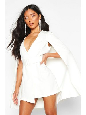 Boohoo Belted Cape Detail Blazer Dress