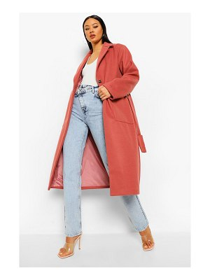 Boohoo Belted Detail Wool Look Maxi Coat