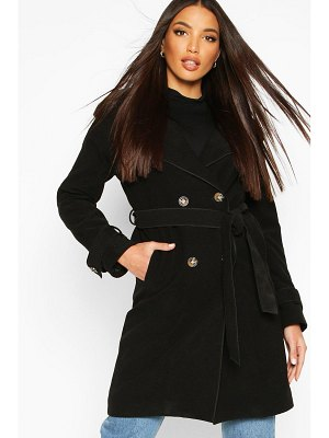 Boohoo Belted Double Breasted Wool Look Trench Coat
