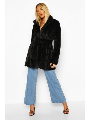Boohoo Belted Faux Fur Coat