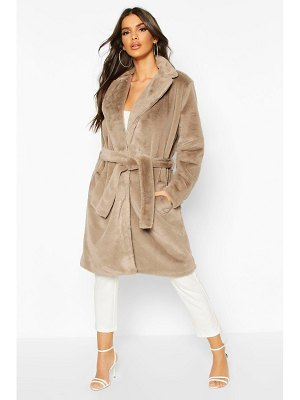 Boohoo Belted Faux Fur Robe Coat