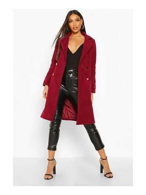Boohoo Belted Military Double Breasted Trench Coat