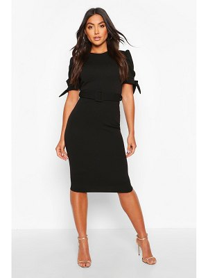 Boohoo Belted Puff Sleeve Midi Dress