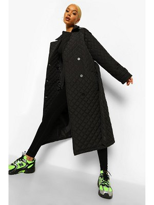 Boohoo Belted Quilted Longline Puffer Jacket