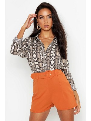 Boohoo Belted Tailored Shorts