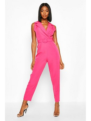 Boohoo Belted Tailored Wide Leg Jumpsuit