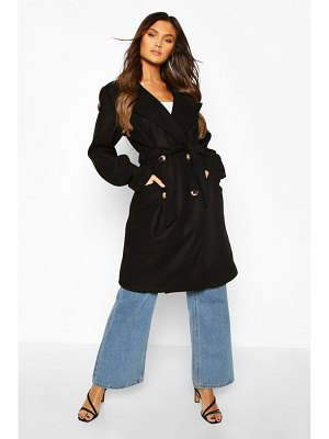 Boohoo Belted Wool Look Double Breasted Trench Coat