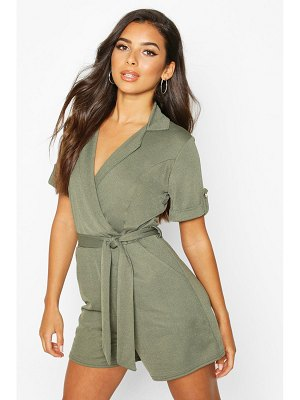 Boohoo Belted Wrap Over Tailored romper
