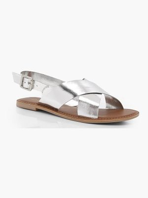 Boohoo Cross Strap Leather Sandals