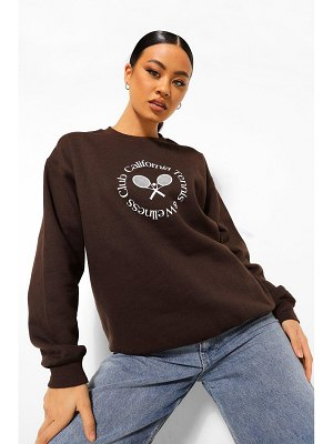 Boohoo Beverly Hills Tennis Slogan Oversized Sweat
