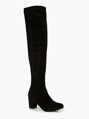 Boohoo Block Heel Stretch Knee High Boots