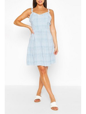 Boohoo Blue Flannel Woven Sun Dress
