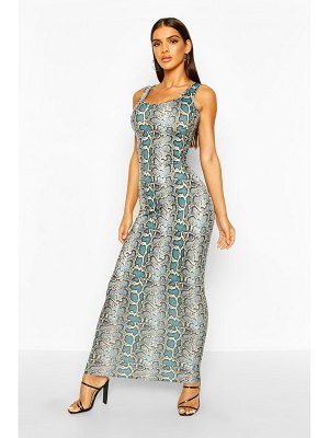 Boohoo Blue Snake Print Maxi Dress