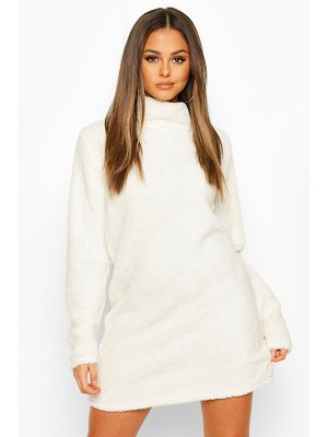 Boohoo Borg Roll Neck Sweatshirt Dress