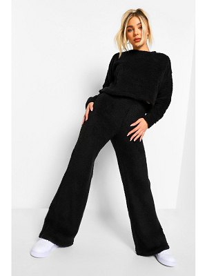 Boohoo Borg Sweater And Wide Leg Trouser Co-Ord Set