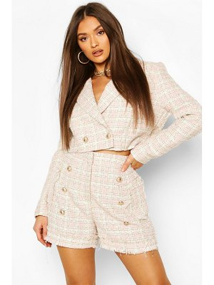 Boohoo Boucle Flanneled Gold Button Cropped Blazer