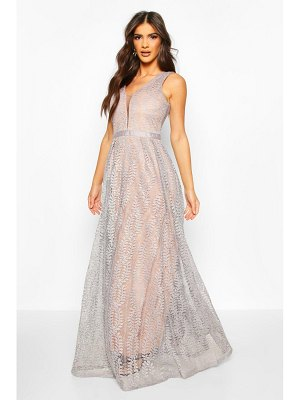 Boohoo Boutique All Lace Plunge Neck Maxi Dress