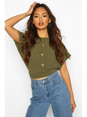 Boohoo Boxy Mock Button Front Top