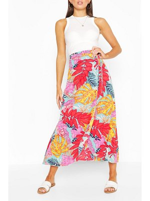 Boohoo Bright Tropical Print Woven Maxi Skirt