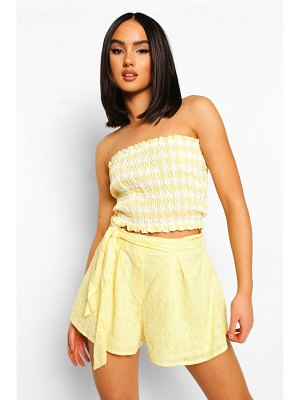 Boohoo Broderie Anglaise Belted Flippy Shorts