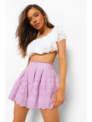 Boohoo Broderie Anglaise Lined Scallop Flippy Shorts