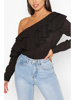 Boohoo Broderie Anglaise Ruffle One Shoulder Top