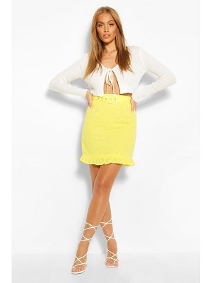 Boohoo Eyelet Belted Mini Ruffle Hem Mini Skirt