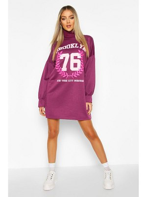 Boohoo Brooklyn Graphic Roll Neck Sweatshirt Dress