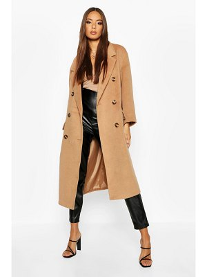 Boohoo Brushed Double Breasted Belted Wool Look Coat