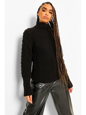 Boohoo Bubble Detail Roll Neck Sweater
