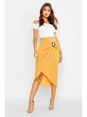 Boohoo Buckle Detail Wrap Midi Skirt