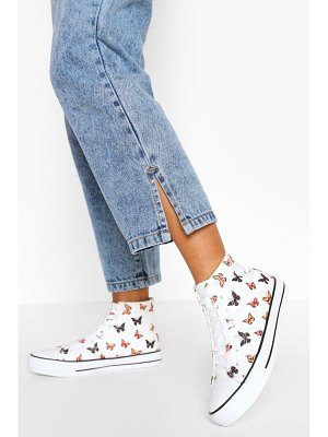 Boohoo Butterfly Print Canvas High Top Sneakers