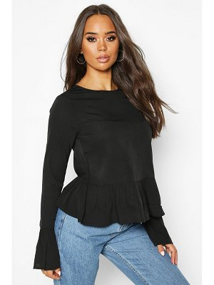 Boohoo Button Back Long Sleeve Frill Top