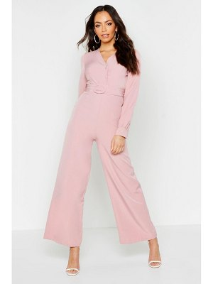 Boohoo Button Detail Belted Wide Leg Jumpsuit