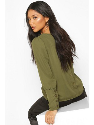 Boohoo Button Detail Long Sleeve Woven Blouse