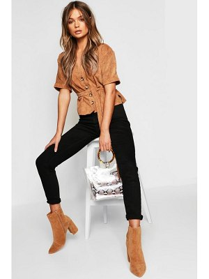 Boohoo Button Down Belted Cord Shirt