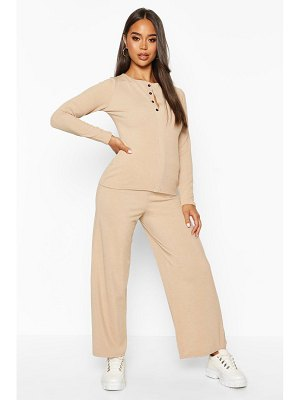 Boohoo Button Down Rib Top + Ankle Grazer Trouser Co-Ords