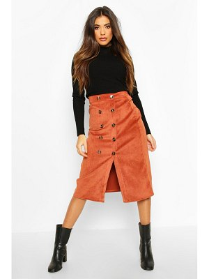 Boohoo Button Front Baby Cord Midi Skirt