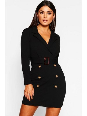 Boohoo Button Front Belted Blazer Bodycon Dress