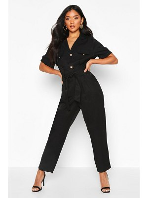 Boohoo Button Front Cargo Jumpsuit
