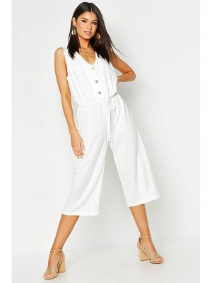 Boohoo Button Front Culotte Jumpsuit