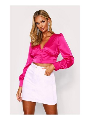 Boohoo Button Front Puff Sleeve Satin Top