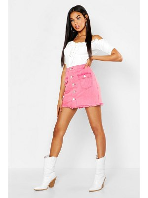 Boohoo Button Front Washed Denim Skirt