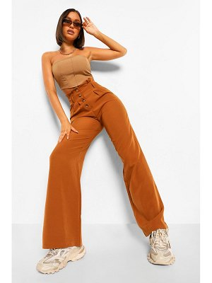 Boohoo Button Front Wide Leg Trouser