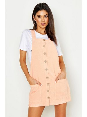 Boohoo Button Through Cord Pinafore Dress